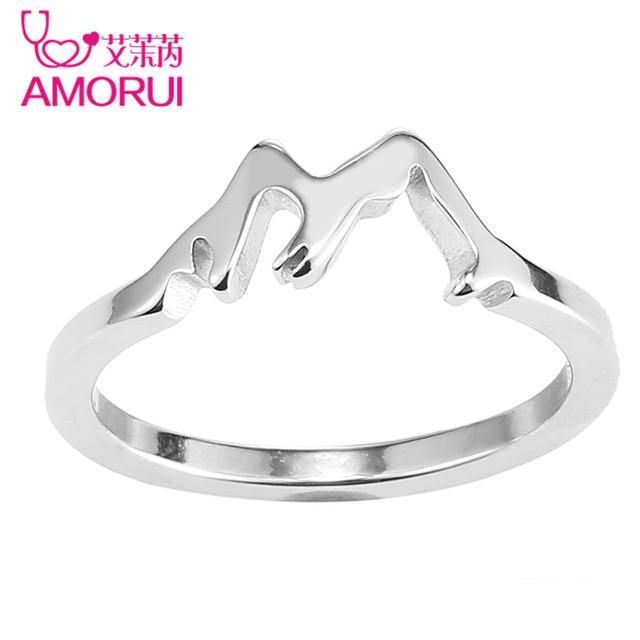 AMORUI Stainless Steel Women Wedding Engagement Silver Gold Mountain Ring Woman