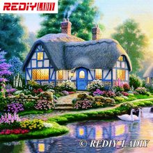 30x33cm Accurate Printed Crystal Beads Embroidery Kits Dream House Scenery Beadwork Crafts Needlework Beaded Cross Stitch APT644(China)