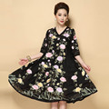 Chinese style puls size flower medium dress for women 2016 summer royal embroidered vintage loose ball gown ladies dresses S-5XL