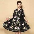 Estilo chinês puls tamanho médio flor dress para as mulheres verão 2016 bordado real do vintage solto vestido de baile vestidos das senhoras s-5xl