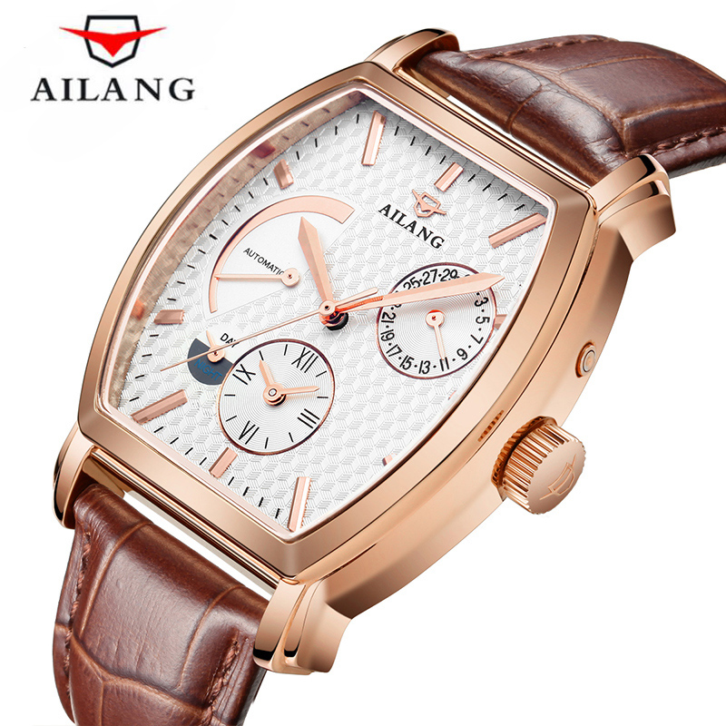 Mechanical kinetic energy display Automatic Watches For Men Fashion Watch Two time Vintage rectangle Clock Waterproof 30M 2019Mechanical kinetic energy display Automatic Watches For Men Fashion Watch Two time Vintage rectangle Clock Waterproof 30M 2019