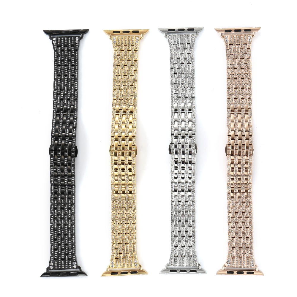 2018 Luxury Crystal Rhinestone Diamond Watch Bands for Apple Watch Bands 38mm 42mm Bracelet Strap For Iwatch Shining Gift Box image