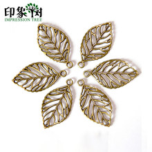 10pcs/Lot 25.5*48.5mm Retro Alloy Bronze Leaves Shape Pendant Accessories For Jewelry Making Bracelet Accessories Handmade 835(China)
