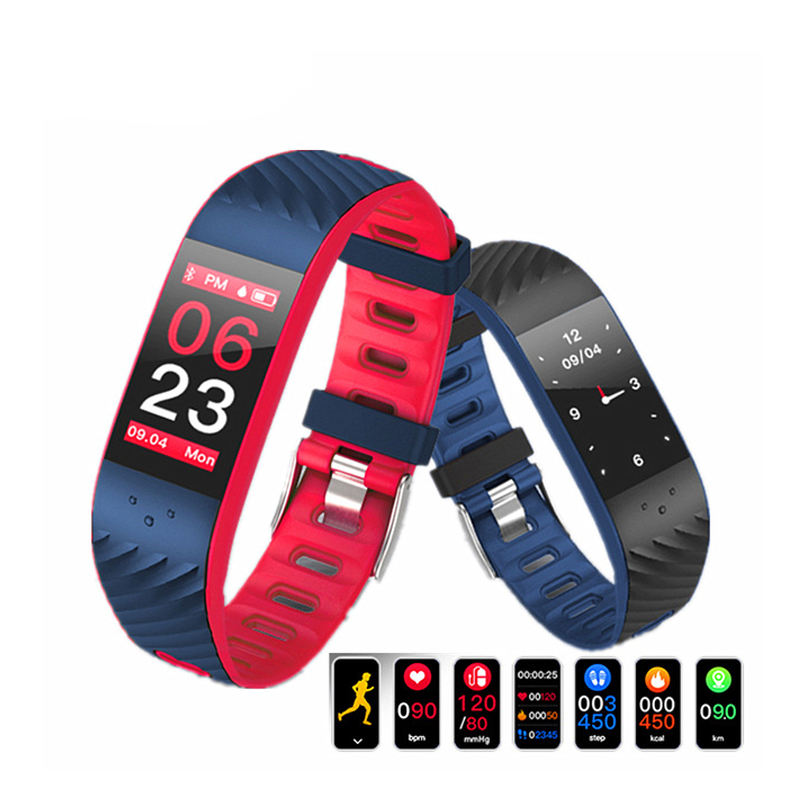 2019 Smart Bracelet Color Screen Wristband Heart Rate Monitor Blood Pressure Measurement Fitness Tracker Band for Android IOS(China)