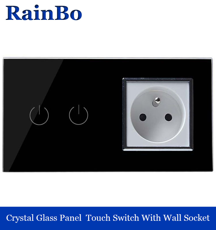 rainbo Luxury Black Touch Screen Control Tempered crystal Glass Panel Wall Light Home touch Switch socket Wall Socket  A29218FB smart home us black 1 gang touch switch screen wireless remote control wall light touch switch control with crystal glass panel