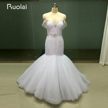 Real Photo Vestido Noiva Off the Shoulder Tulle Mermaid Ruffle Wedding Dresses 2017 Crystal Bridal Gown Long Robe de Mariage WS5