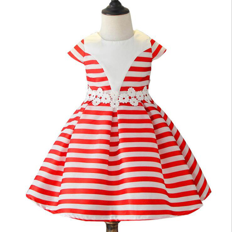 New Baby Girls Striped Dress For Girls Formal Wedding Lace Party Dresses Kids Princess Christmas Dress Children Girls Clothing hot sale new autumn children straight dress baby girls dresses kids striped knee length long sleeved princess casual dress party