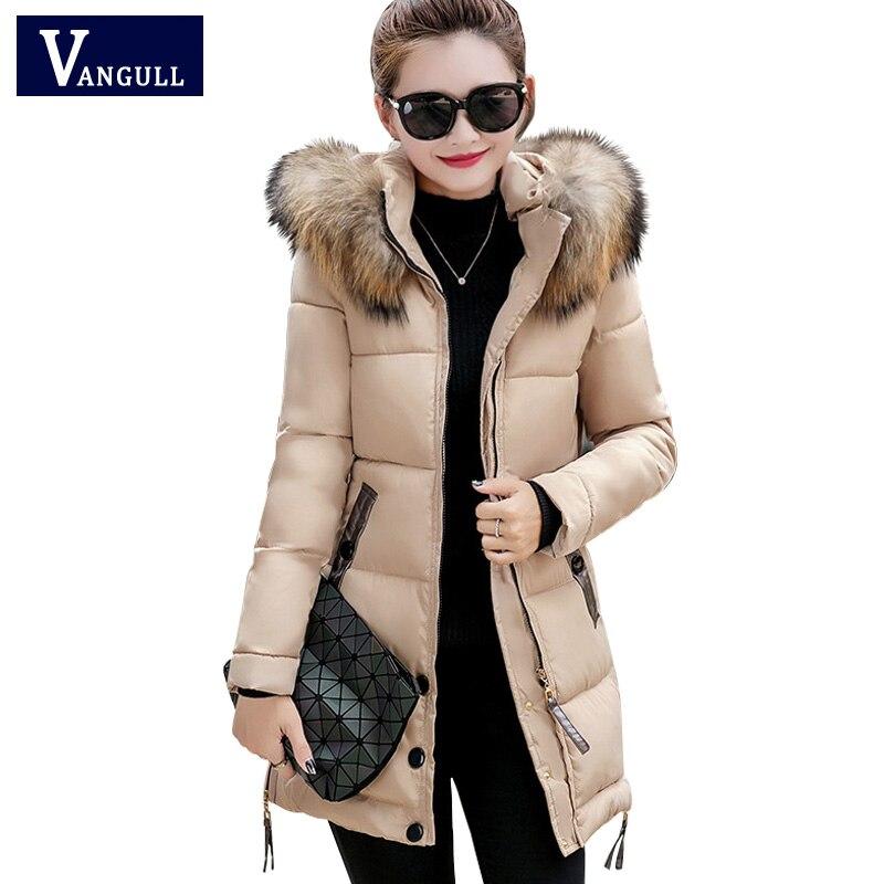 все цены на women winter hooded coat 2017 fur collar plus size 3XL female outerwear parka ladies warm long jacket slim jaqueta feminina онлайн
