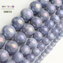 "Blue Beads Electroplated Stone DIY Beads for DIY Bracelet Jewelry Making Angelite 15"" Strand 4/6/8/10/12mm(China)"