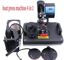 Free Shipping 4 in 1 Combo heat transfer machine for T shirt hat plate mug sublimation