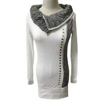 Autumn Hot Tshirt Women Pullover Knitted T Shirt Bottoming Shirt Casual Irregular Collar Single Row Rivets