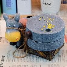 1PC donkey grinding Round Ash trays Vintage Ashtray Model Craft handicrafts Car Home Office Ash tray gadget Smoker Gift Ashtays