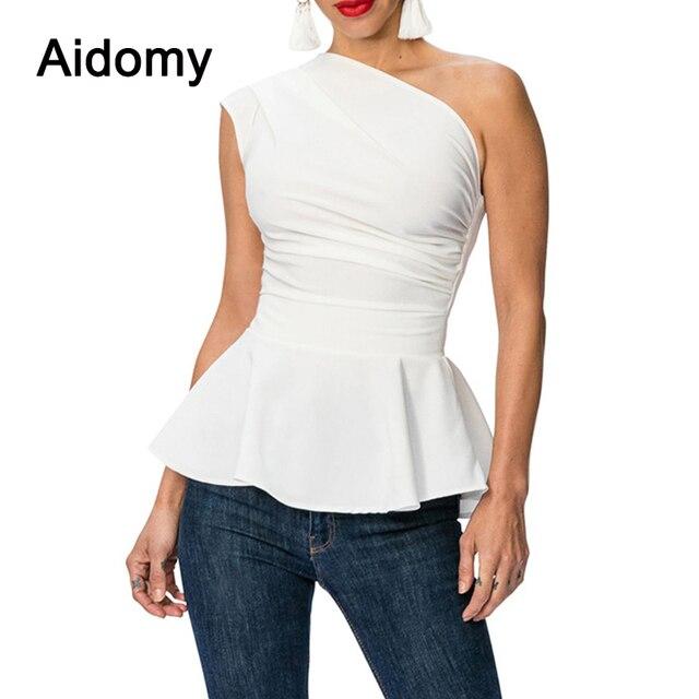 Ruffles Peplum Tops For Women 2018 One Shoulder Women Top Shirts
