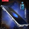 Luphie para iphone7 7 plus caso bumper de alumínio de luxo de metal forma prismática botão metal frame case para iphone 7 capa