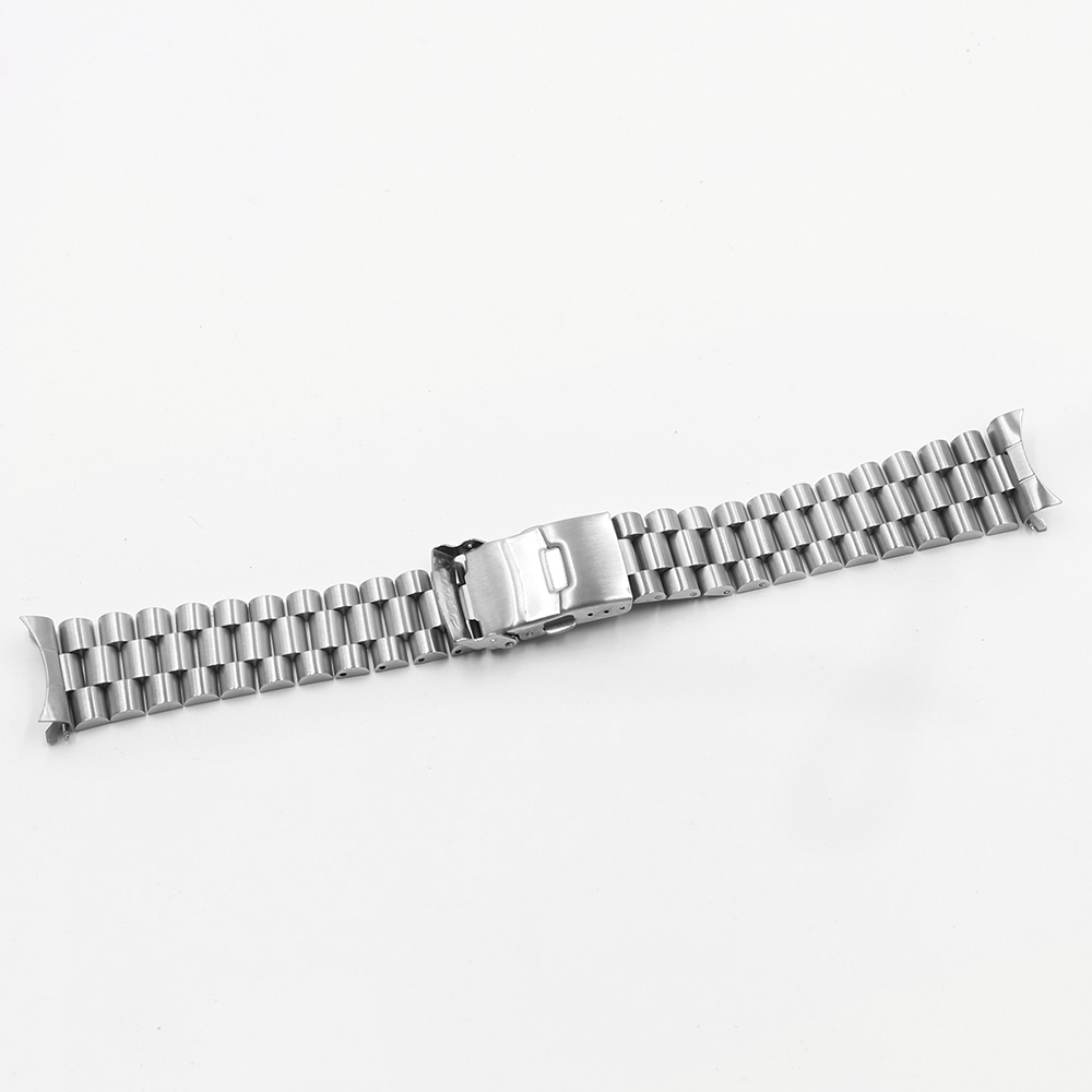 CARLYWET 20 22mm Silver Hollow Curved End Solid Links Replacement Watch Band Strap Bracelet Double Push Clasp For Seiko in Watchbands from Watches