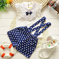 summer style fashion bow t shirt+dot overalls two pieces baby toddler girl clothing clothes bodysuits new born cotton set