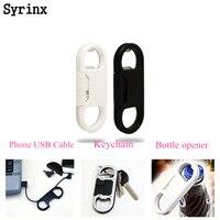 SYRINX-Cable Micro USB para teléfono móvil, Conector de sincronización de carga, abridor de botellas de cerveza para Samsung, iPhone, Xiaomi, Android