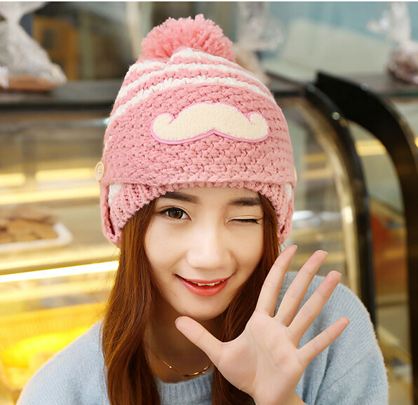 BomHCS Three Kinds of Wearing Ways Beard Knit Cap Women Winter Warm Hat 100% Handmade Knitted Beanie Hat Riding Cap mccann c thirteen ways of looking