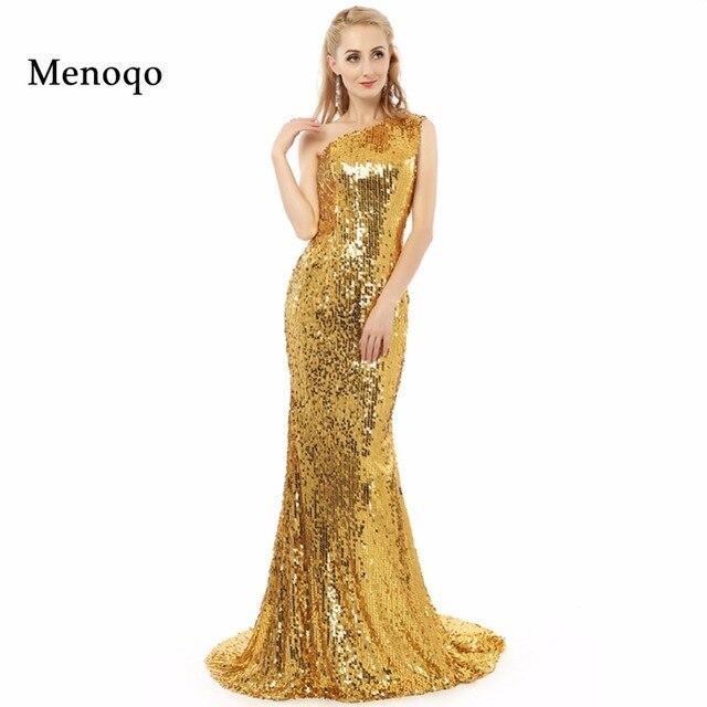 e329e2459e1d € 80.08 31% de DESCUENTO Vestidos de festa sparkly muestra real de un  hombro oro Lentejuelas Encaje estilo sexy sirena larga Vestidos de noche  2018 ...