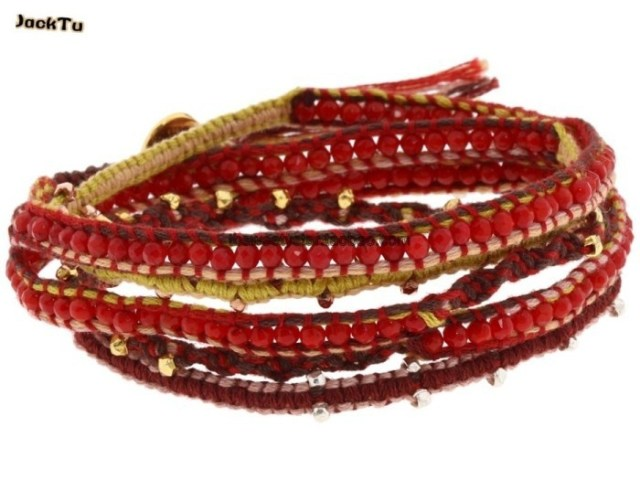 2013 charm fashion natural red coral red cotton cord 6 wrap bracelet women peace