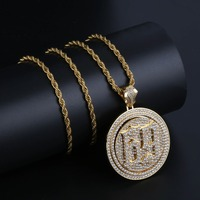 Hip Hop Punk New Arrival Rotatable 69 Pendant Iced Out Bling Bling CZ Number Necklace Cuban Chain Mens Jewelry For Rappers