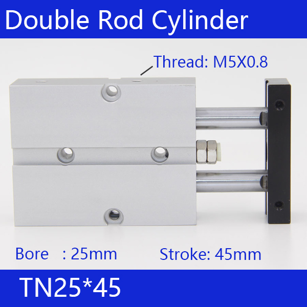 TN25*45 Free shipping 25mm Bore 45mm Stroke Compact Air Cylinders TN25X45-S Dual Action Air Pneumatic Cylinder