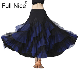 Image 4 - Ballroom Dance Skirt Flower Ruffle  Long Skirt Big Swing Modern Dance Women Tango Stage costumes Flamenco Belly Dance Skirt Walt
