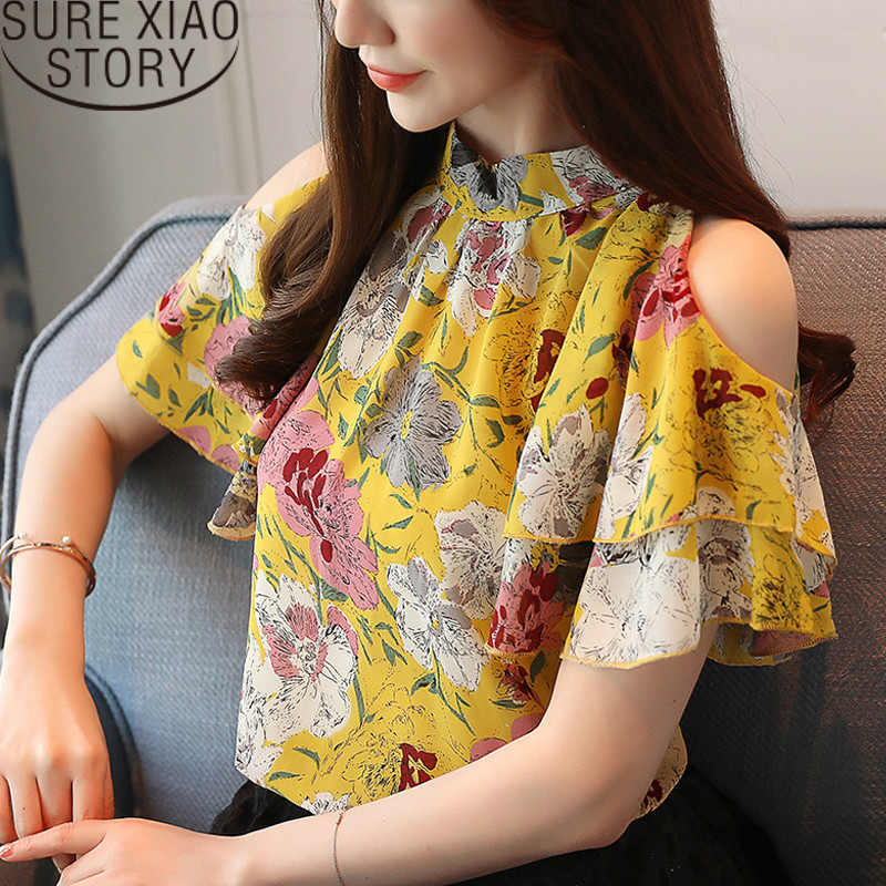 blusas mujer de moda 2019   shirts   womens tops and   blouses   Ruffles Short women   shirts   Floral Butterfly Sleeve Stand 2097 50