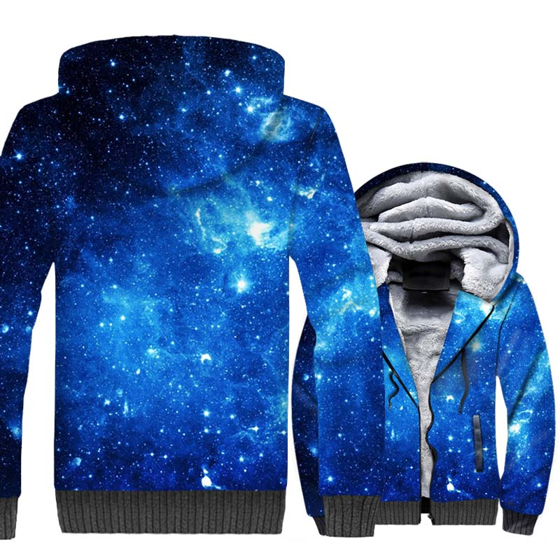 Blue Star Nebula Hoodies 2018 Fashion Winter Thick Mens Jacket Hip Hop Unisex Zipper Sweatshrit Streetwear 3D Space Galaxy Coat