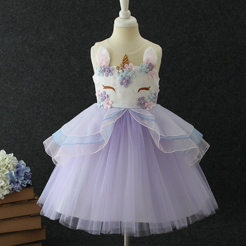 New Kids Dresses For Girls Unicorn Party Dress 2018 Summer Dress Elegant Children Clothing Cosplay Dresses 4 5 6 7 8 9 10 Years