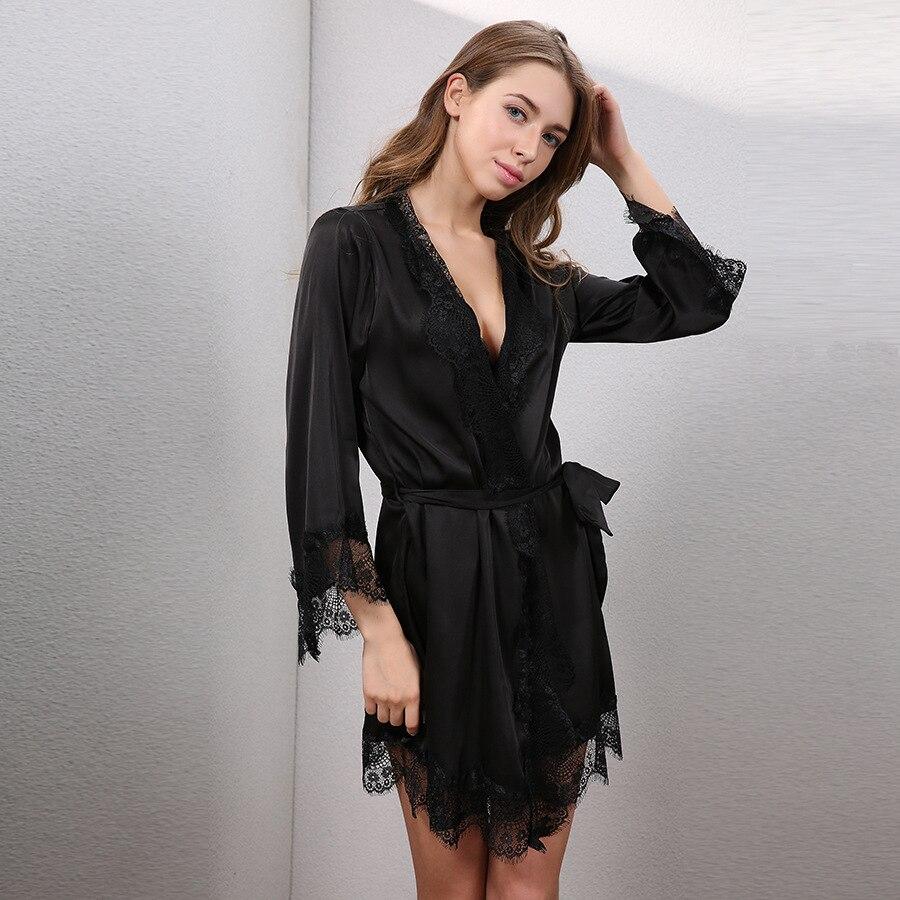 Bresna Sexy Eyelash Lace Robes Women Bathrobe Home Sleep -8950