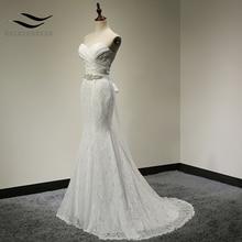 Bridal Wedding Gown Real Photos White Lace Cheap Mermaid Wedding Dress Train 2018 Vintage Sash vestido De noiva 2018 SLD-W001