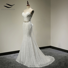 Pleat Bridal Wedding Gown Real Photos White Lace Cheap Mermaid Wedding Dress