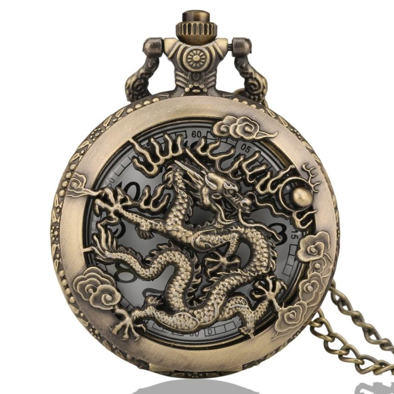 Antique Vintage Dragon Pocket Watch Hollow Pendant Zodiac Quartz Steampunk Men Women Unique Necklace Chain Relojes De Bolsillo