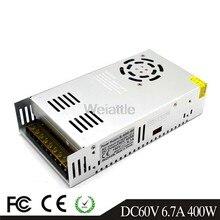 Driver de luz led 60 v 6.7a 400w, fonte de alimentação de comutação 110/220v AC-DC 60 v constante motor de monitoramento do transformador de tensão