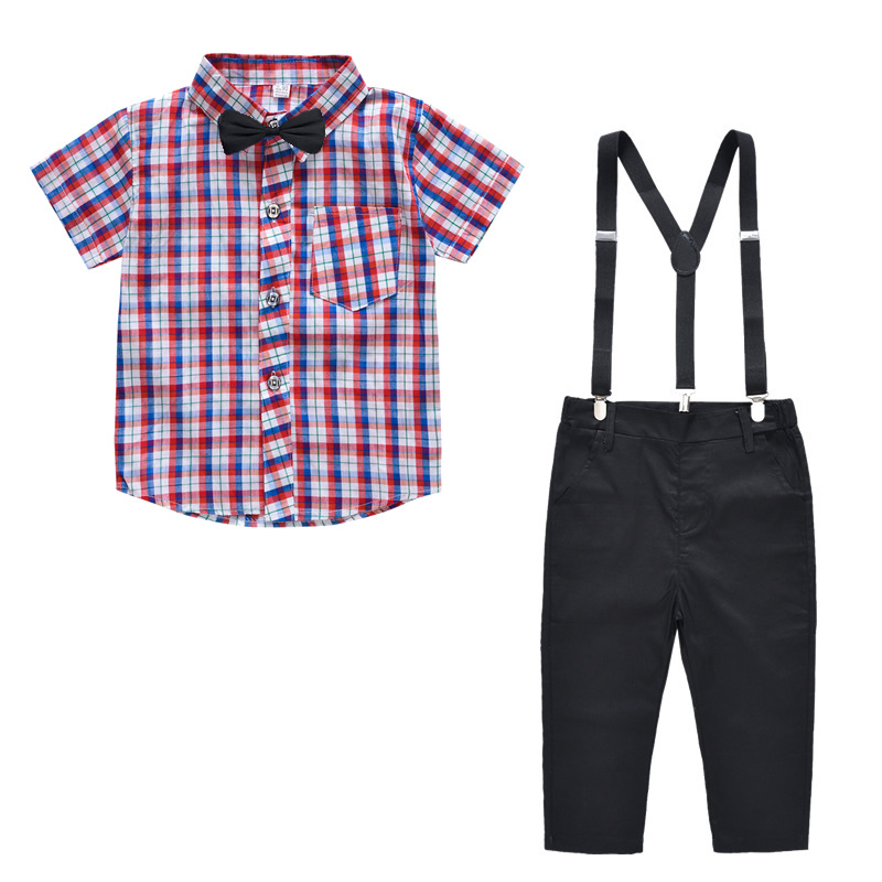 Summer Baby Boys 3 Pieces Clothing Sets Cotton Short Sleeved Plaid Shirt Pants With Bow Tie Kids Sets For 2 9 Years Old in Clothing Sets from Mother Kids