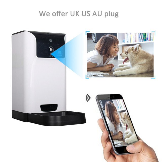 New 6 L Automatic Pet Feeder Dog And Cat Food Dispenser Features Voice Control Recording Camera Monitoring Wifi Pet Feeder