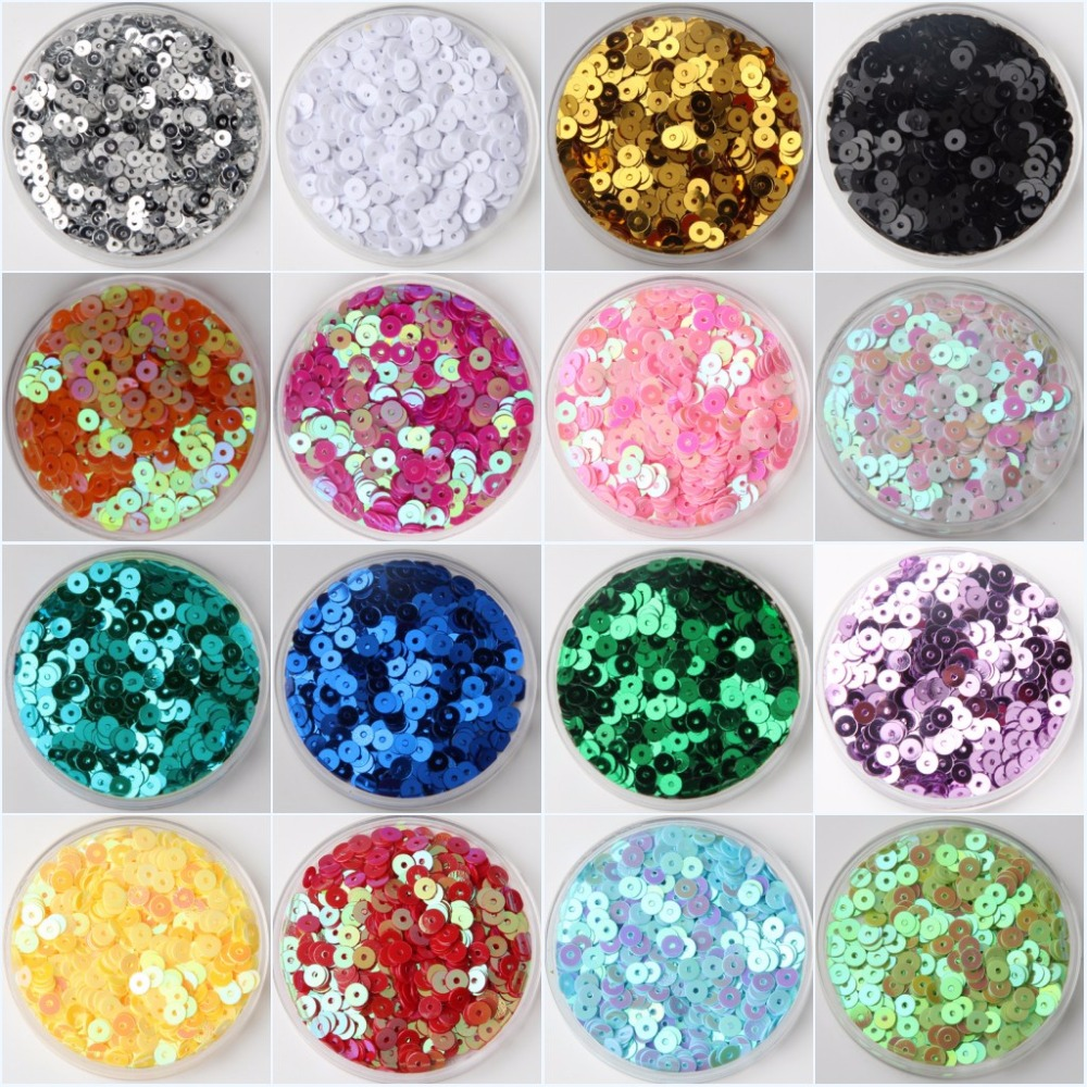3mm 4mm 5mm 6mm Flat Runde PVC Løse Sequins Paillette Sy Håndverk For Bryllup Dekoration Garment Dress Sko Caps DIY Tilbehør