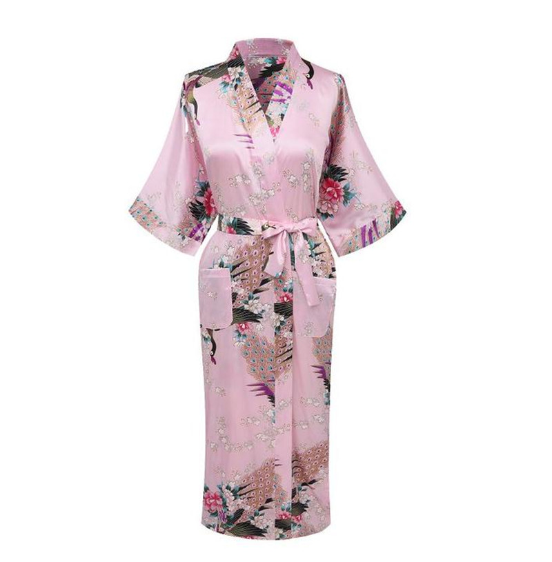 6bbdf340062d2 Plus Size XXXL Summer Sexy Black Women's Robe Satin Rayon Print Nightgown  Long Sleepwear Kimono Bath Gown Flower Pajamas A-114