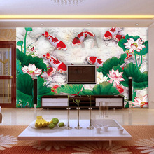 цены 2m Width 1.5m height Prosperous pond louts and leaf and fish large mural wallpaper living room wallpapers elder's room wallpaper