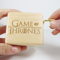 Handmade Nature wood Game of Thrones music box gold mechanism special souvenir gift box, birthday gifts free shipping