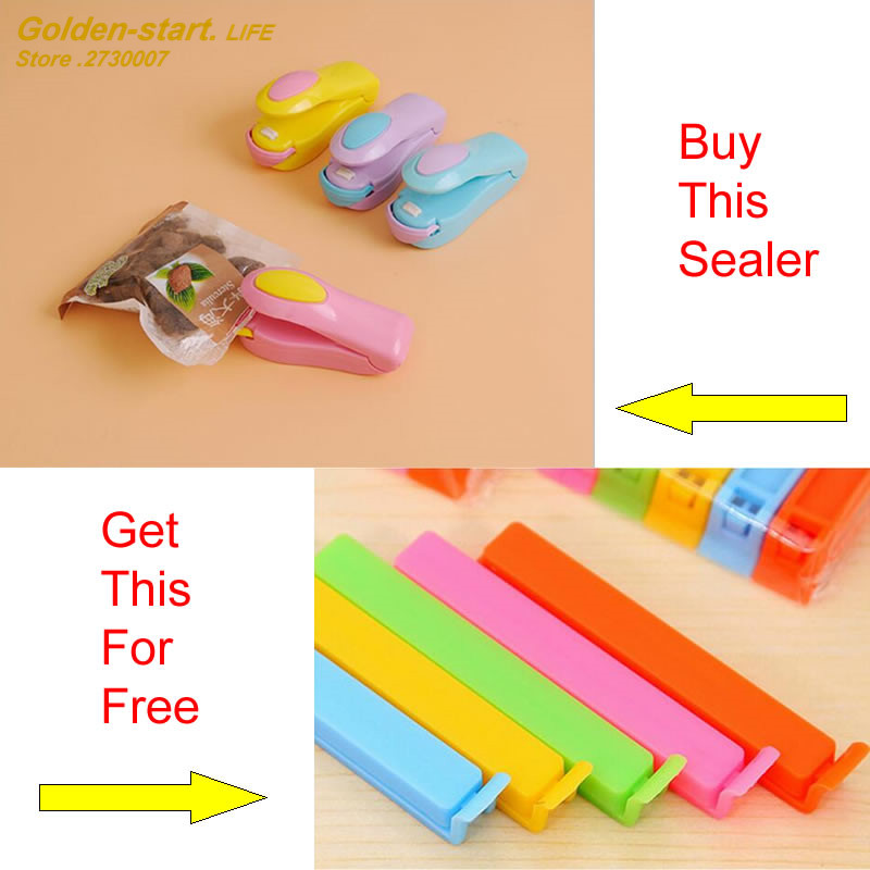 2017 Free shipping hot selling food sealer sealing machine bag seal clip with two sealing clips as free gift