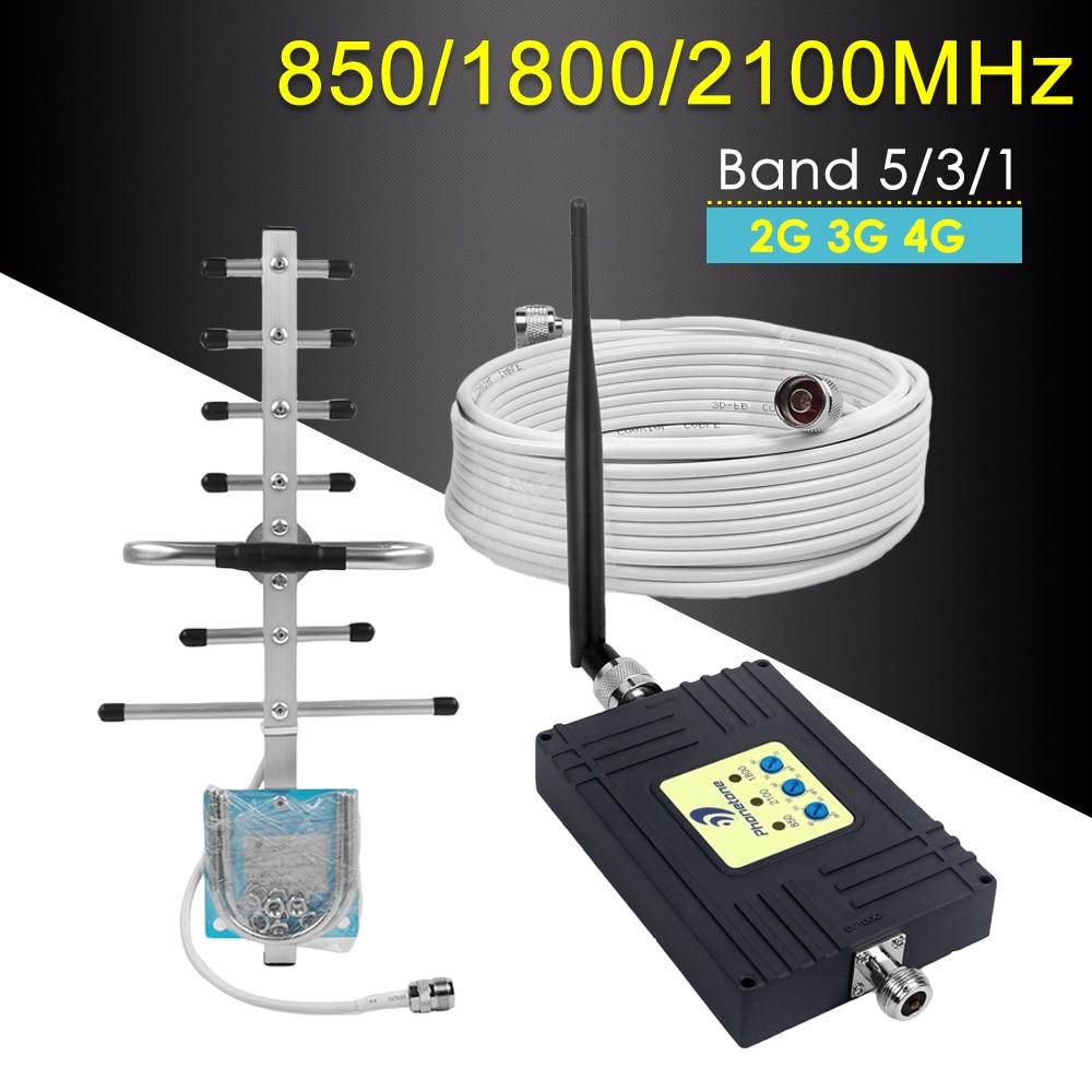Amplificateur 4G LTE amplificateur de Signal cellulaire Tri-bande CDMA 850 DCS 1800 WCDMA 2100 2G 3G 4G GSM répéteur répéteur de téléphone portable Fullset