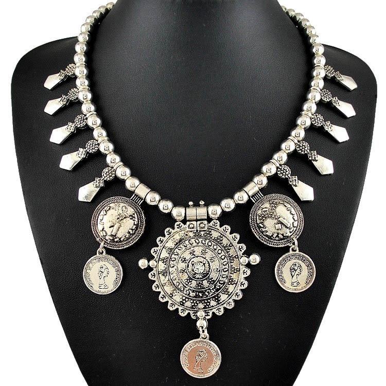 QCOOLJLY  1PC Hot Vintage Lady Woman Thai Silver Color Coin Shape Necklace Wholesale