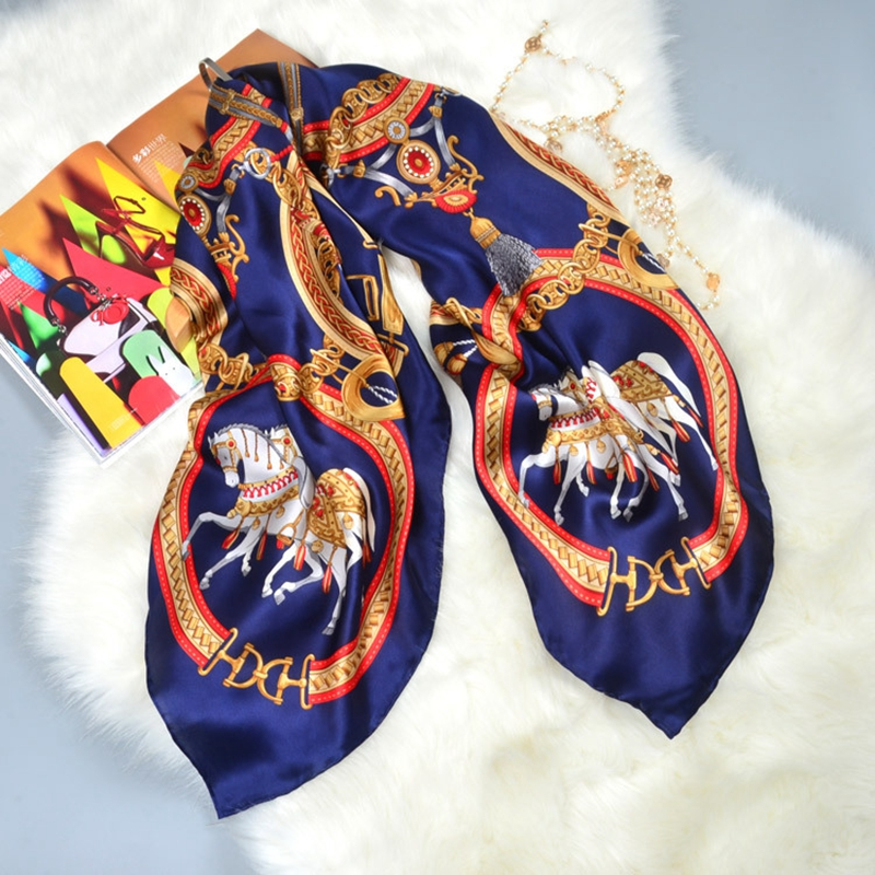 Horse Print Large Square Silk   Scarf   Shawl Bandana Hijab Women 100% Silk   Scarves     Wraps   Cape Luxury Hand Rolled 106x106cm Gifts