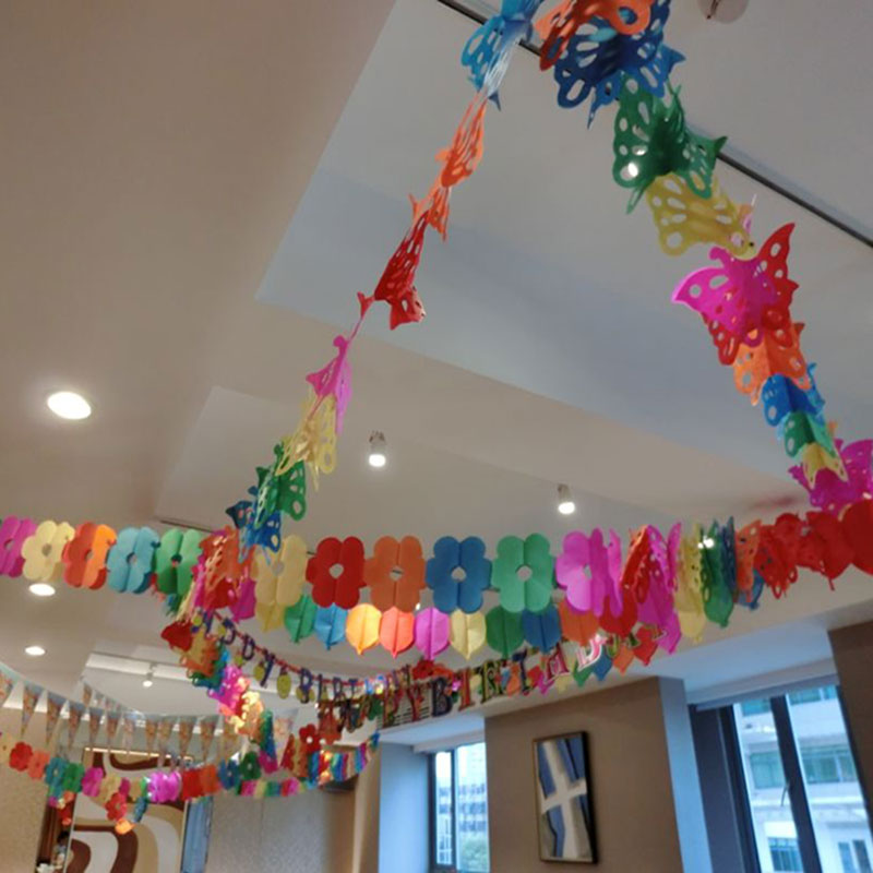 Colorful paper garland valentine 39 s day kids birthday party for Wedding decoration stores near me