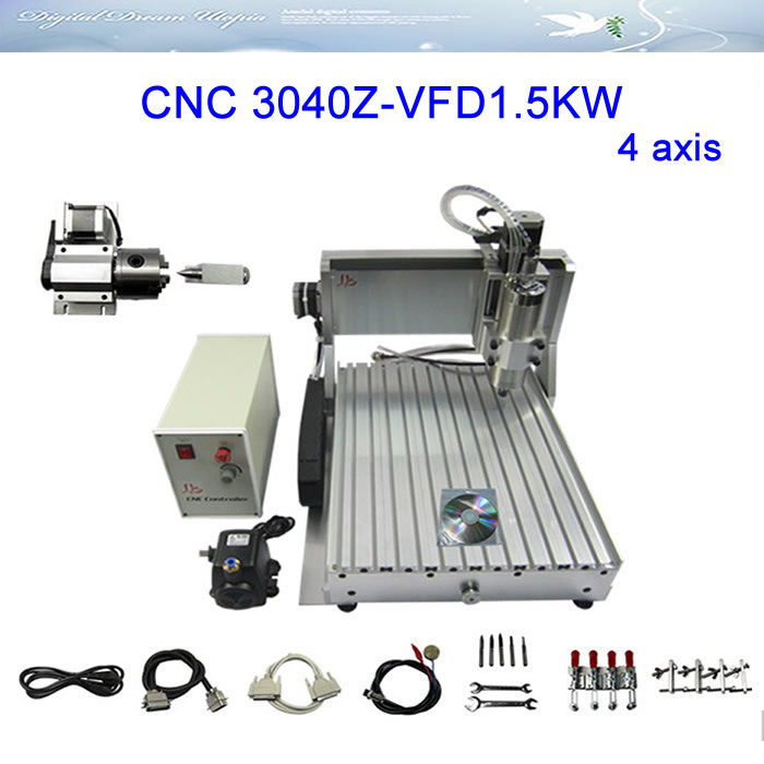 LY 3040Z-VFD1.5KW 4 axis Engraving Machine ,milling machine,cnc router with water cooling spindle,Russia free ship & tax! ly cnc router 3020 z d 500w spindle engraving machine with the limit switch small mini cnc milling machine