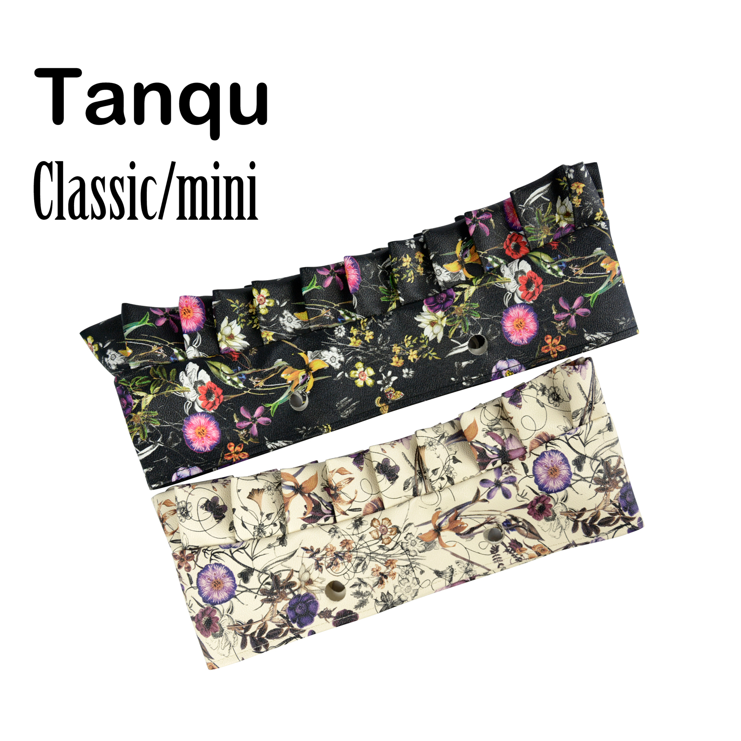 Tanqu Classic Mini Flounce Floral Leather PU Trim decoration with frill pleat for Obag O Bag Accessory self tie waist frill trim pleated pants