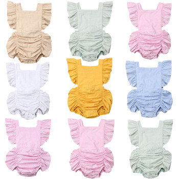 7Ccolor niños recién nacidos niñas opaco mameluco con volantes sin mangas mono lazo trasero trajes ropa
