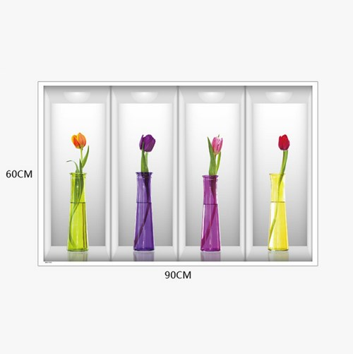 Hot Sell Fashion 3d Flower Vase Removable Wall Sticker Decal Mural